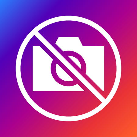 use regulations: No camera sign vector on colored background.