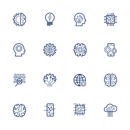 Artificial Intelligence Related Vector: Icon AI, robot, chipping, setting Editable Stroke Illustration