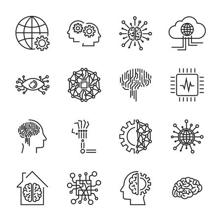Künstliche Intelligenz und Roboter-Vektor Icon-Set Vektorgrafik