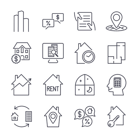 Real Estate Icons. 向量圖像