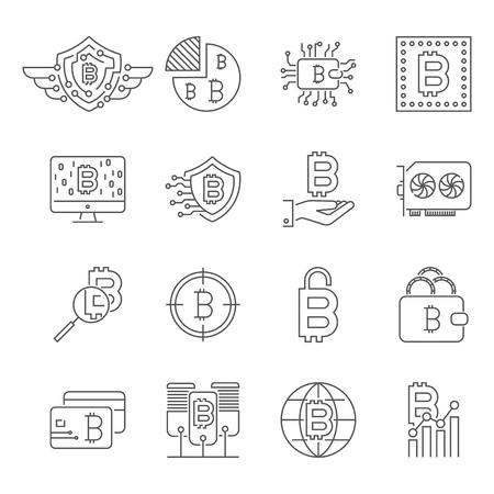 Blockchain, Cryptocurrency icons set. Editable Stroke.