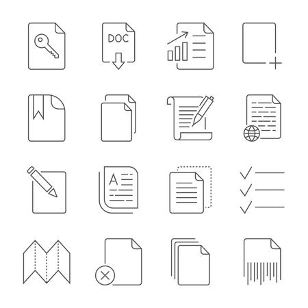 Paper icon, Document icon. Editable Stroke Vectores