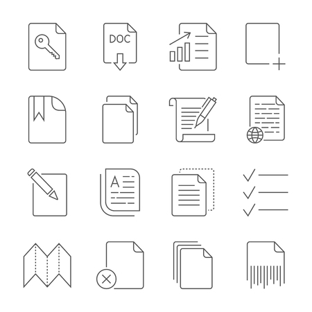 Paper icon, Document icon. Editable Stroke  イラスト・ベクター素材