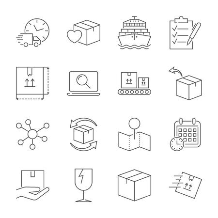 Pakketbezorgservice icon set. Snelle levering en hoogwaardig service transport.