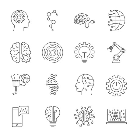 Simple Set of Artificial Intelligence Related Vector Line Icons. Contains such Icons as Face Recognition, Algorithm, Self-learning and more. Editable Stroke.