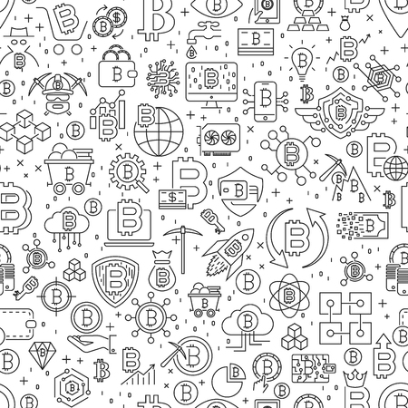 Bitcoin Seamless Pattern. Vector Illustration of Outline Tile Background. Cryptocurrency Financial Items. EPS 10 Illustration