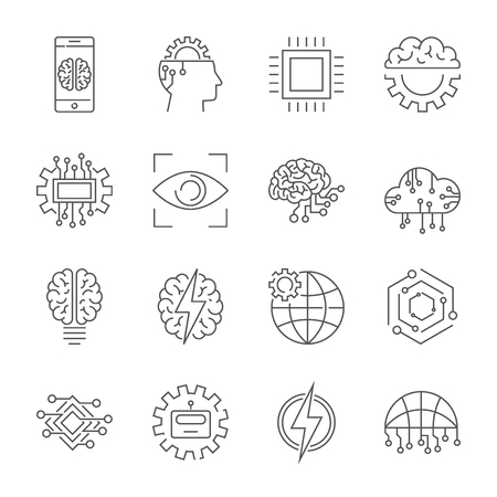 Artificial intelligence icon set. Illustration