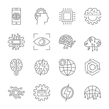 Artificial intelligence icon set. Illustration