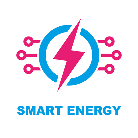 Smart Energy Concept. Vector template illustration. Electricity power icon. Modern technology sign Design element.