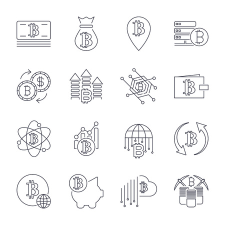 Block chain crypto-currency line icon set included the icons as e wallet digital block money.