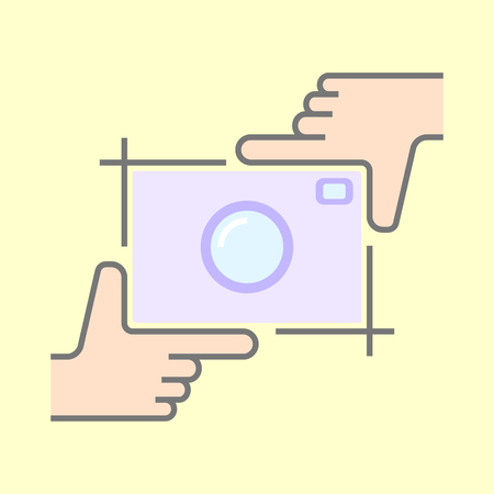 Human hands doing cropping symbol isolated. Framing hands and camera.  イラスト・ベクター素材