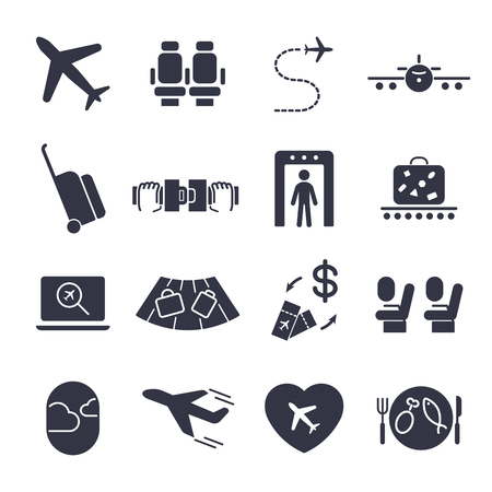 Airport icon set, airport management icons, aerial transportation icons plane, seat, airway, rechange, suitcase and other
