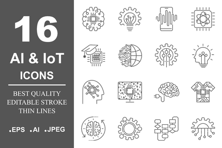 AI and IoT. Artificial intelligence icons set. Editable Stroke. EPS 10 Ilustração