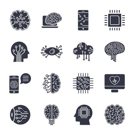 Simple set of artificial intelligence related line icons contains such icons as droid, eye, chip, brain 일러스트