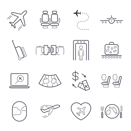 Airport icon set, airport management icons, aerial transportation icons plane, seat, airway, recharge, suitcase and others.