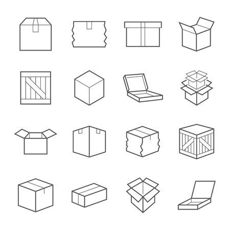 Various boxes containers and packages in line Icon set.