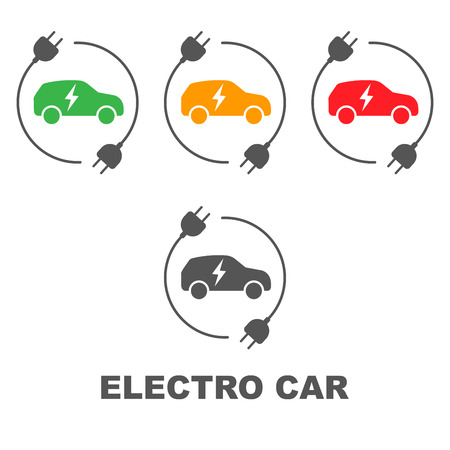 Icons of electric cars, vector. Side view of the electric vehicle. The indication of the battery level in the electric car. EPS 10 Illustration