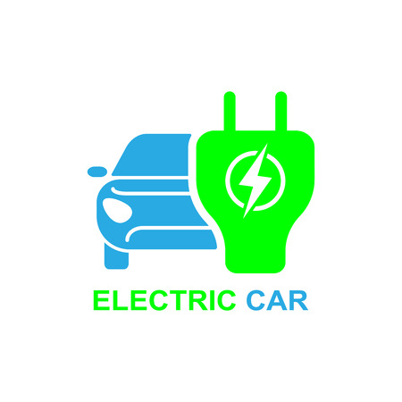 Electro car icon. Logo element illustration. Electro car symbol design from 2 colored collection. Simple Electro car concept. Can be used in web and mobile. Vectores