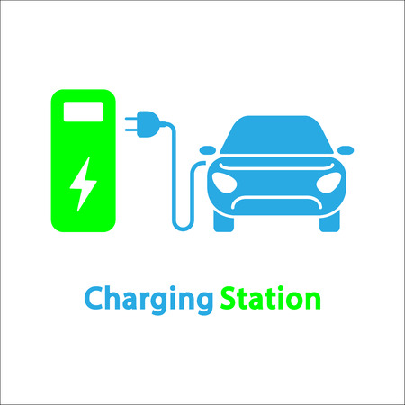 Electro car icon. Logo element illustration. Electro car symbol design from 2 colored collection. Simple Electro car concept. Can be used in web and mobile. Vettoriali