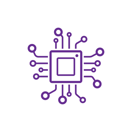 Cpu icon, vector cpu processor technology, electronic microchip
