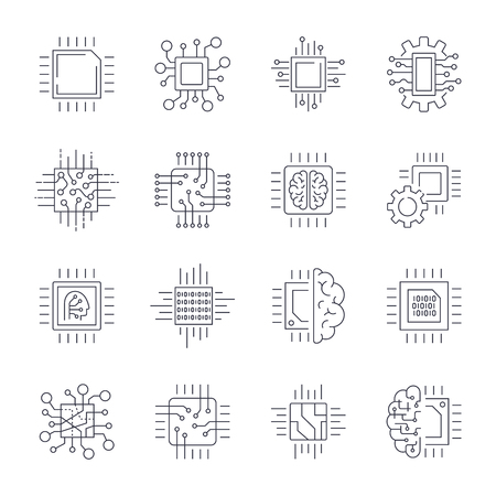 CPU Microprocessor and Chips Icons Set. Vector. Editable Stroke