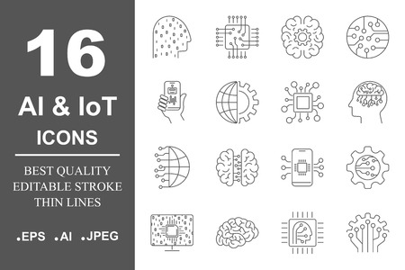 AI icons set. Artificial Intelligence. Different icons for web