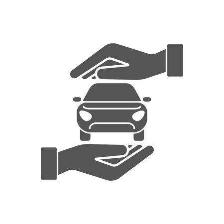 Car automobile insurance and collision damage waiver concepts. Vector icon of car in hands in protective gesture.