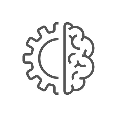 Artificial intelligence brain icon - vector AI technology concept symbol or design element Иллюстрация