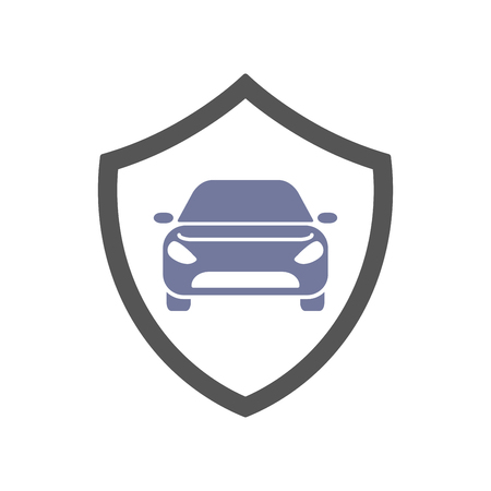 Protect car guard shield. Safety badge vehicle icon. Privacy automobile banner shield. Security auto label. Defense motor car. Defense safeguard shield motor vehicle. Car alarm system. Ilustração