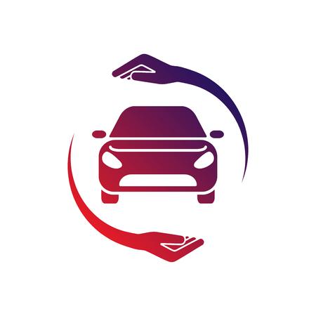 Logo Samochodu Z Ręką Kółka. Kolorowe logo. EPS 10