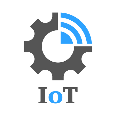 Simple icon to represent the Internet of Things IoT concept. Gear, settings and network. Iot, Industry 4.0, 5G