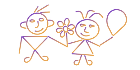 Boy and girl icon. Colorful background. Editable Stroke. EPS 10 Stock Illustratie