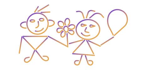 Boy and girl icon. Colorful background. Editable Stroke. EPS 10 Ilustração