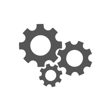Three gear sign simple icon on white background 일러스트