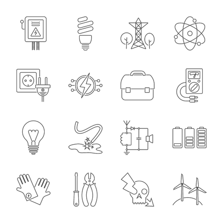 Set of energy icons in modern thin line style. High quality black outline electicity symbols for web site design and mobile apps. Simple energy pictograms on a white background. Editable Stroke. Stockfoto - 127490442