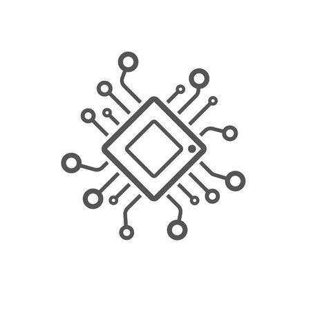 Computer chip chalk icon. Processor. Memory card. Central processing unit. Artificial intelligence. Isolated vector chalkboard illustration