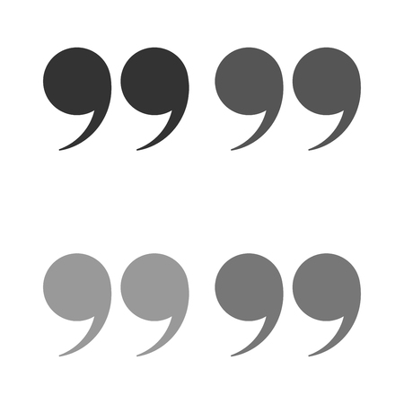 Quotes icon vector set. Quote marks black symbol isolated.