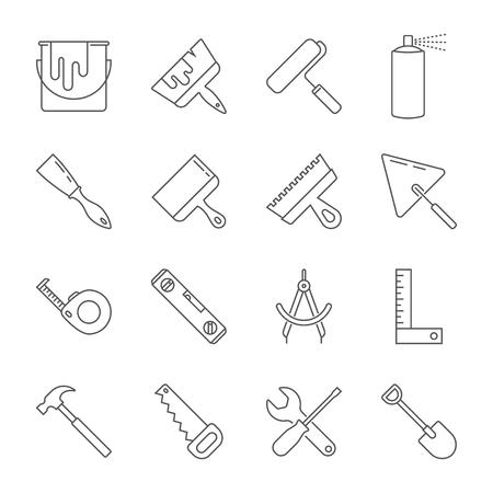 Construction tool icon collection - vector illustration. Editable Stroke. EPS 10