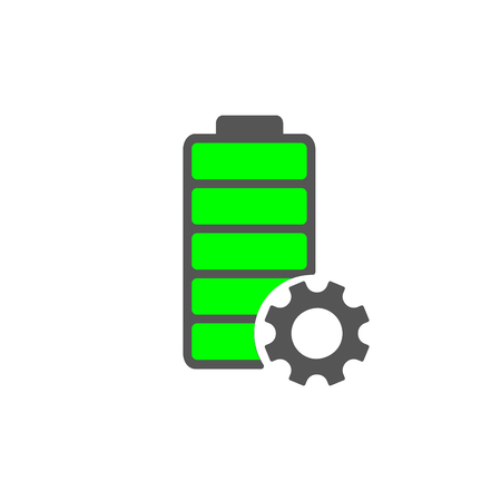 Battery icon. Accumulator vector and settings icon of power level. EPS 10 Stockfoto - 126857060