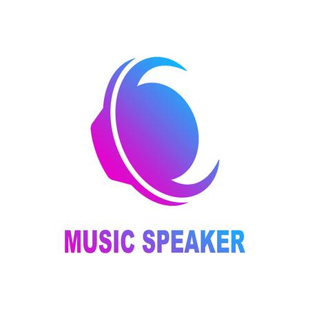 Speaker sound logo. Sound speaker and musical logo template. Woofer vector design. Subwoofer illustration. EPS 10 Çizim