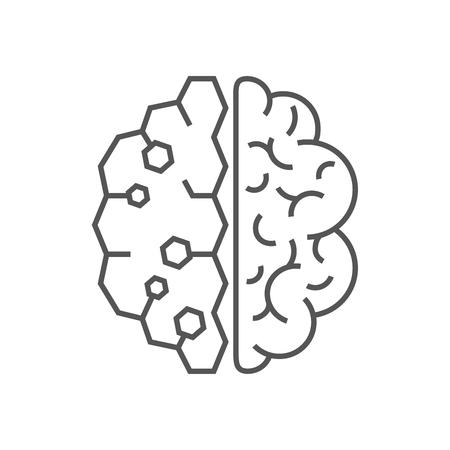 AI artificial intelligence icon. EPS 10. Editable Stroke