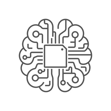 Brain Logo silhouette design vector template. AI brain concept. EPS 10 Stock Illustratie