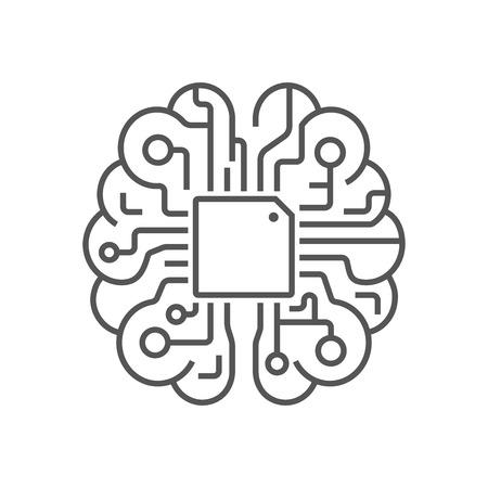 Plantilla de vector de diseño de silueta de logotipo de cerebro. Concepto de cerebro AI. EPS 10