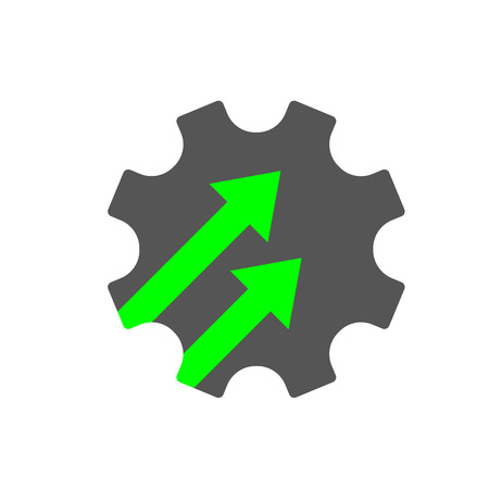 Industry 4.0 gear icon vector illustration. Cogwheel sign INDUSTRY 4.0, manufacturing technology revolution with digital system. EPS 10