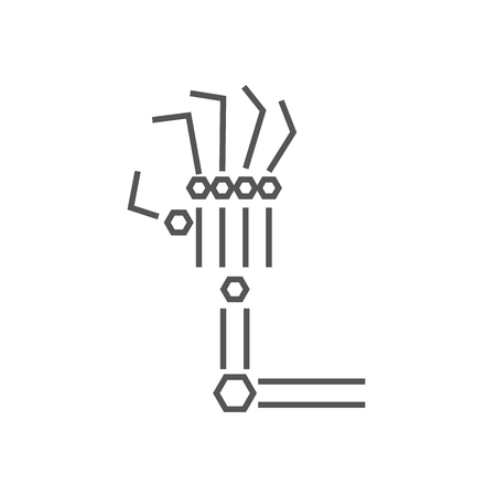 Robotic arm line icon on white background. Mechanical hand. Industrial robot manipulator. Modern industrial technology. IoT, Internet Of Things, AI logo. EPS 10
