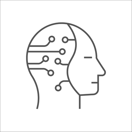 Human head with cogwheels inside linear icon. Artificial intelligence. Technology progress. Thin line illustration. Robot. Contour symbol. Vector isolated outline drawing. Editable stroke