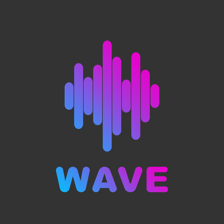 Audio wave visual abstract logo. Music and audio wave in gradient color. Logo for web, apps, programs and services.