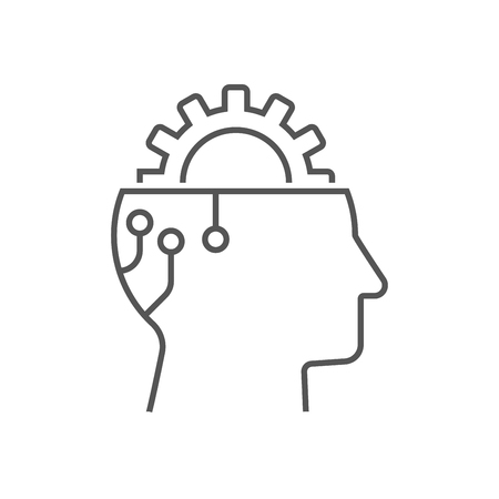 Gear in head, icon vector, AI concept, head of cyborg, solid illustration, pictogram isolated on white. Editable Stroke. EPS 10 Ilustração