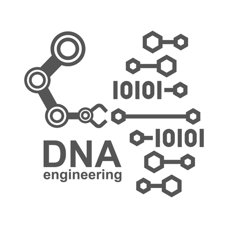 DNA engineering, creation synthetic DNA. DNA synthesis science concept. Polygon lab chemistry genetic engineering reactor. Modern innovation evolution organism technology product laboratory robotic ai