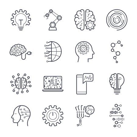 Industry 4.0, Internet of things (IoT) and Artificial Intelligence (AI) icons set. EPS 10 Stock Illustratie